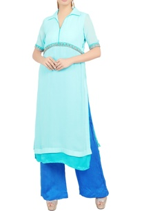 blue-embroidered-knee-length-tunic-and-pant-set