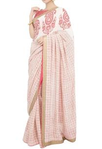 peach-block-print-sari-with-blouse