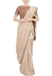 brown-block-print-sari-with-blouse