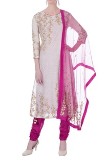 off-white-sequin-kurta-with-churidar-dupatta