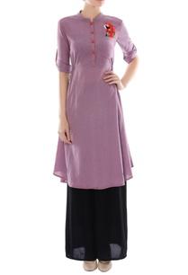 purple-peacock-motif-cotton-tunic