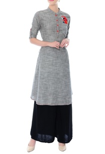 grey-peacock-motif-cotton-tunic