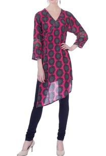 pink-sunflower-print-asymmetrical-tunic