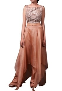 brown-crop-top-with-organza-asymmetric-skirt