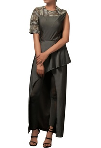 charcoal-grey-bodycon-dress-with-pants