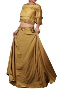 ochre-yellow-organza-top-skirt