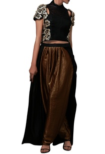 black-sequin-crop-top-pant-with-attached-skirt