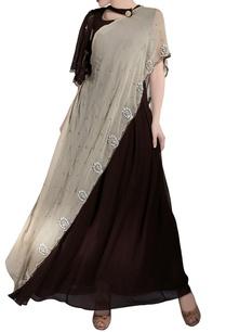 beige-dark-brown-bell-sleeve-sari-gown