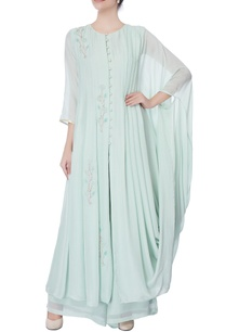 powder-blue-embroidered-draped-kurta
