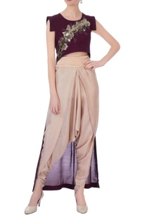 wine-beige-synthetic-silk-embroidered-cape-with-dhoti-pants