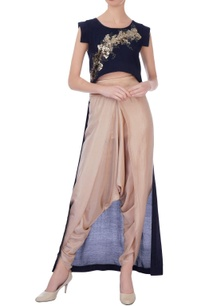 navy-blue-beige-synthetic-silk-embroidered-cape-with-dhoti-pants