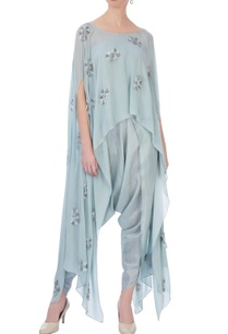 pale-grey-georgette-silk-embroidered-cape-with-dhoti-pants