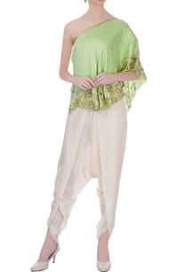 green-beige-dupion-silk-embroidered-blouse-with-dhoti-pants
