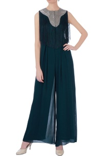 teal-blue-georgette-solid-jumpsuit-with-fringed-cape
