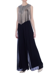 teal-blue-georgette-solid-jumpsuit-with-beige-fringed-cape
