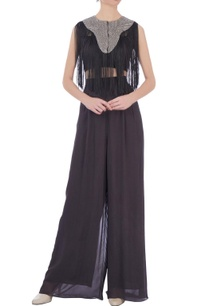 grey-georgette-solid-palazzo-pants-bustier-with-fringed-cape