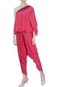 punch-pink-dupion-silk-embroidered-blouse-with-dhoti-pants