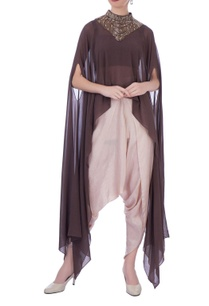 brown-georgette-silk-embellished-cape-with-dhoti-pants