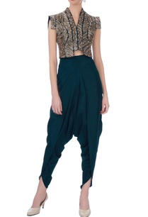 teal-silk-solid-dhoti-pants-bustier-with-embroidered-jacket