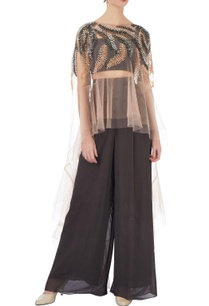 dark-grey-net-georgette-solid-dhoti-pants-bustier-with-beige-embroidered-cape