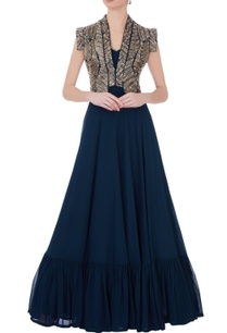 teal-blue-georgette-silk-embroidered-cape-with-solid-maxi-dress