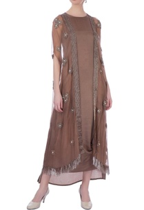 brown-organza-silk-organza-embellished-cape-cowled-dress