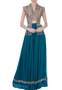 teal-blue-georgette-silk-embroidered-cape-with-bustier-long-skirt