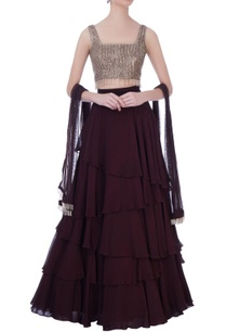 wine-georgette-embroidered-blouse-with-layered-skirt-dupatta