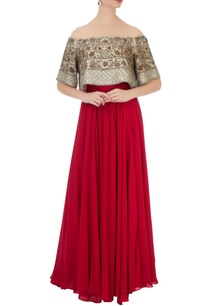 grey-georgette-silk-embellished-blouse-with-red-solid-skirt