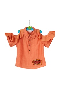 orange-ruffle-cold-shoulder-shirt