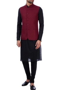 wine-linen-front-pocket-nehru-jacket