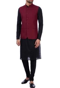 wine-linen-front-pocket-nehru-jacket