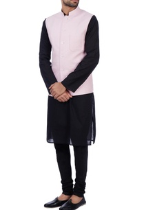 baby-pink-linen-front-pocket-nehru-jacket