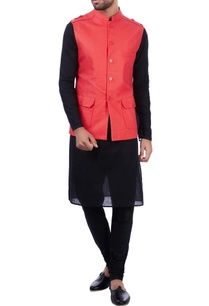 orange-linen-front-pocket-nehru-jacket