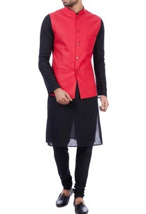 red-linen-front-pocket-nehru-jacket