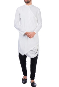 white-modal-cotton-draped-kurta