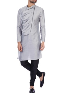 grey-modal-cotton-draped-kurta