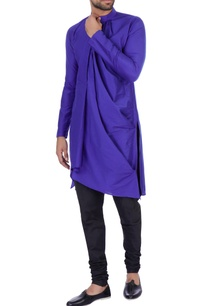dark-blue-cotton-silk-draped-kurta