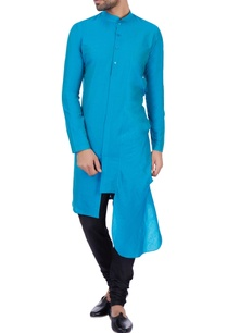 turquoise-blue-cotton-silk-draped-kurta