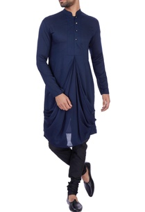 royal-blue-modal-cotton-draped-kurta