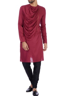 wine-modal-cotton-draped-kurta