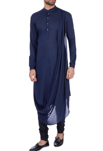 dark-blue-modal-cotton-draped-kurta