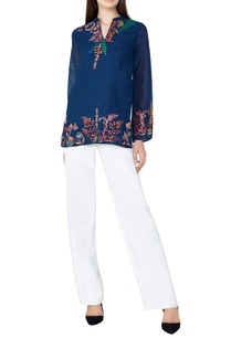 blue-botanical-hand-woven-silk-tunic