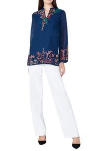 blue-botanical-hand-woven-silk-tunic
