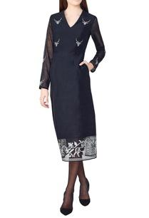 black-a-line-hand-woven-silk-dress