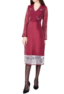 wine-hand-woven-silk-a-line-dress