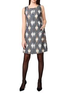 grey-handwoven-cotton-a-line-short-dress