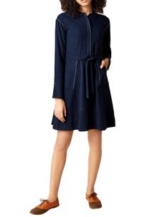 navy-blue-hanwoven-cotton-a-line-dress