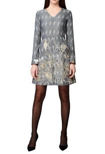 grey-handwoven-cotton-a-line-dress