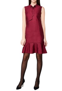 plum-handwoven-cotton-spandex-midi-dress